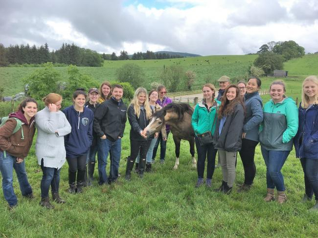 American student on exchgange with SRUC's Oatridge College visit Tom Best at the Waxwing stud