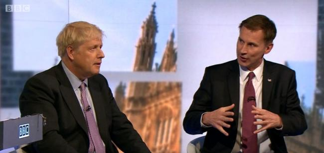 Tory leadership contenders, Boris Johnson and Jeremy Hunt