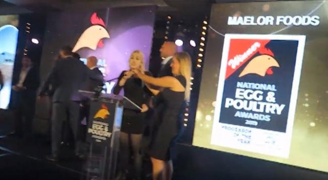 Disruption at the National Egg and Poultry Awards 2019 (Pic: YouTube)