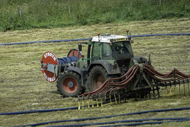 Slurry from the dairy unit at Lundie, Dundee, being spread onto fields during the dry spell (Pic: Ron Stephen)