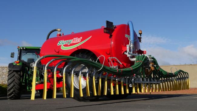The new 12m dribble bar fitted to the FarmLine SlurryKat tanker