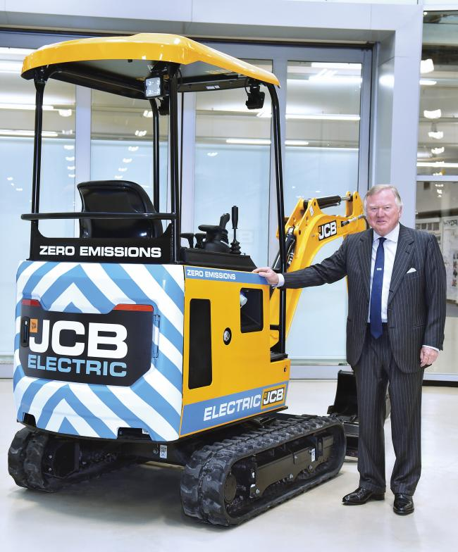 JCB Chairman Lord Bamford who has spearheaded the company's development of its first ever electric digger