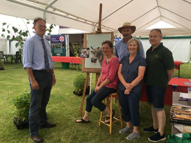 AT THE Border Union Show, from left, Patrick Playfair of Edwin Thompson, artist Denise Playfair, RHET Borders chair Alan Murray, RHET Borders vice chair Jennifer Dodds, and RHET co-ordinator Marianne Hodge