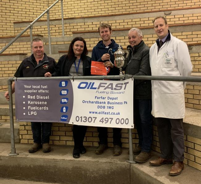 Middle Drimmie secured the overall championship at Forfar, pictured from left are Joe Beedie of sponsors Beedie Bros, Alison Armstrong, Oilfast; Allen Drysdale, Middle Drimmie and Andrew Steel, Craignathro and Daniel Johnston
