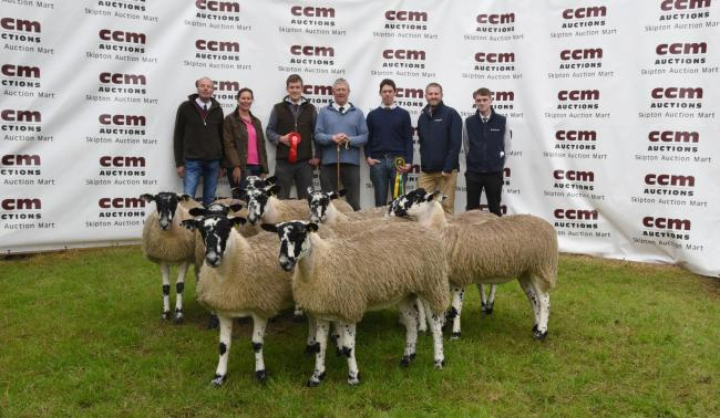 Champion pen of 10 Mule ewe lambs from JC Walker and Son pictured from left Geoff Walker, flanked by sons Rob and John, centre joined by, from left, co-judges Peter Fox and Caroline Mole, and Ian Robson and Liam Brittain, of co-sponsors Barclays Bank