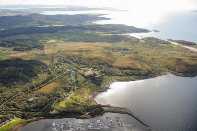 An aerial shot of the beautiful site on the Cowal Peninsula in Argyll