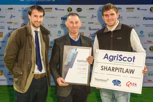 AgriScot Sheep Farmer of the Year for 2019 is Kevin Stewart (centre) pictured with son Kevin (left) and farm worker Lewis Mathieson