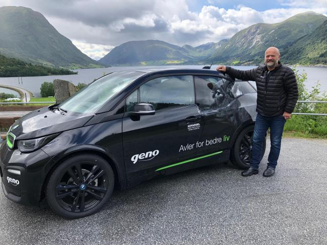Geno technician Jon Helge Sandal with his BMW i3 car
