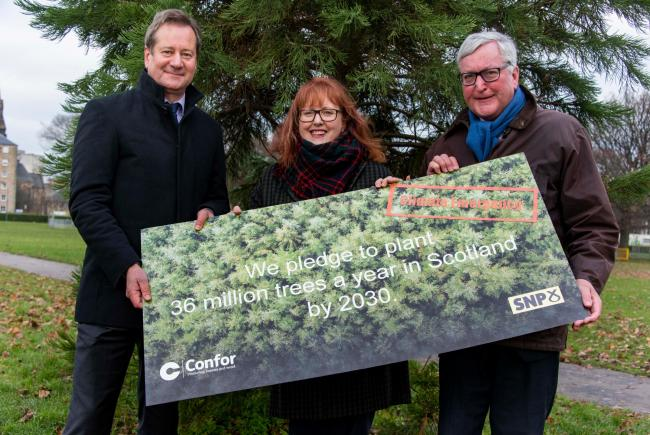 PLANTING PLEDGE from left, Confor's Stuart Goodall, MP Deidre Brock and MSP Fergus Ewing at Leith Links