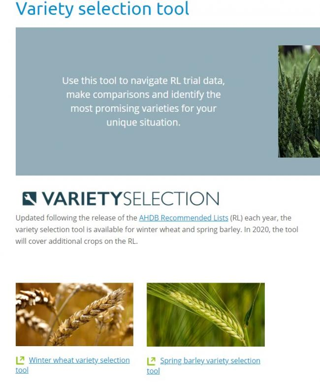 The variety selection tool portal on AHDB's website