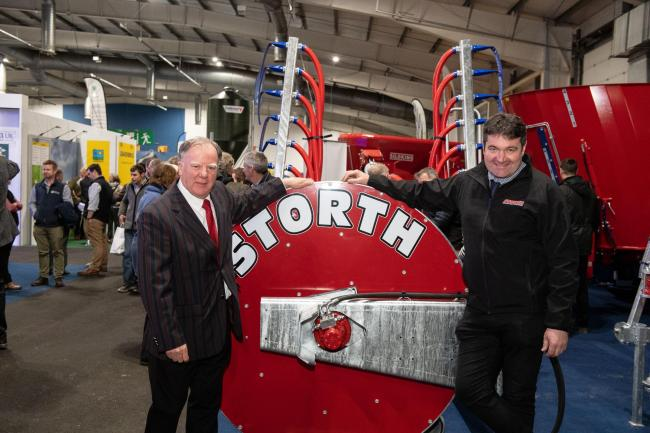 Robert Wilson (left) with his successor at Storth, Alister Shanks, at the recent AgriScot event 	        Ref:RH201119053