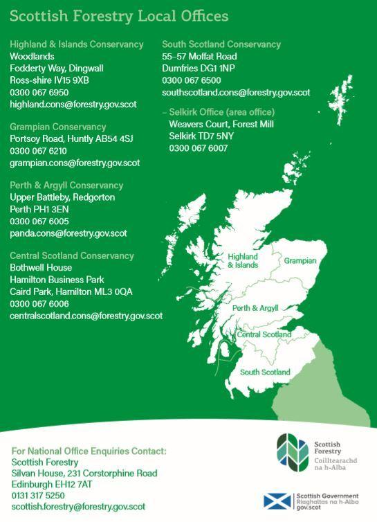 Scottish Forestry's offices around the country