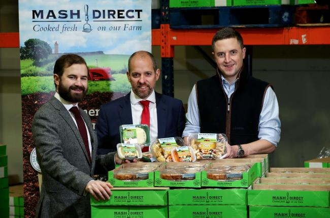 Jack Hamilton, chief operating officer of Mash Direct (left), with HSBC's Marty Colvin (centre) and Mash Direct's sales director, Lance Hamilton (right)