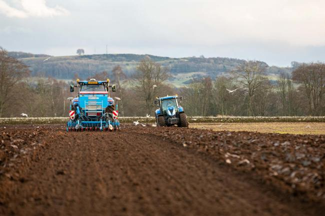 Sowing winter wheat at Bow of Fife - but the wet winter into an equally wet spring has made it difficult for many farmers to achieve a spread of crops  Ref:EC2301202892