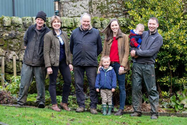 The Allanfauld team, shepherd David Kinloch with Libby, Archie, Matthew, Bryony, Andrew and John MacGregor  Ref:EC2301202891