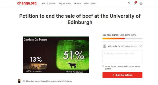 The petition calling for a ban of beef on campus displayed wildly inaccurate figures around climate change contributions