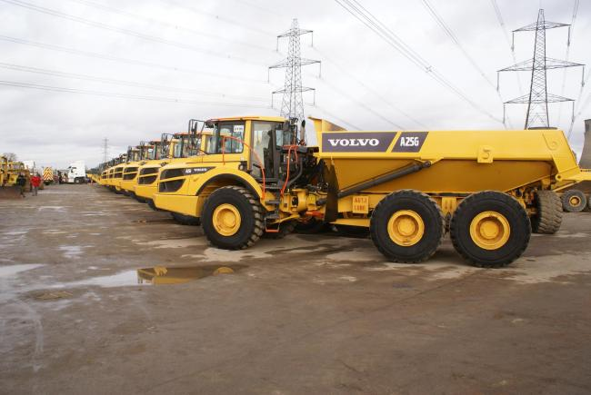 Top priced lot sold for £156,000 for this 2018 Volvo A25G 6x6 articulated dumptruck