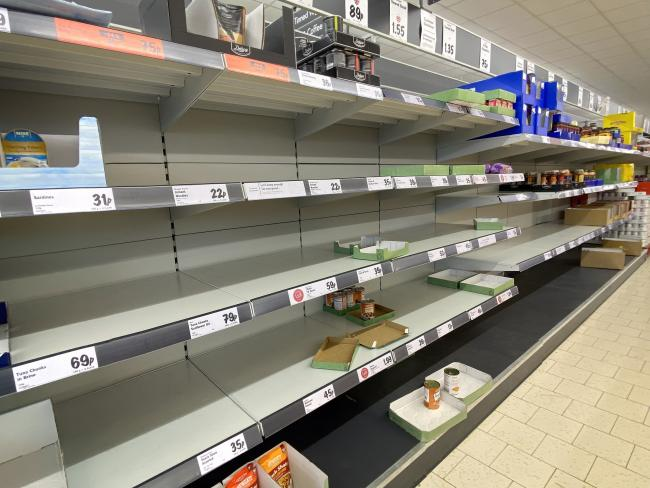 Empty supermarket shelves following panic buying during the Coronavirus pandemic.