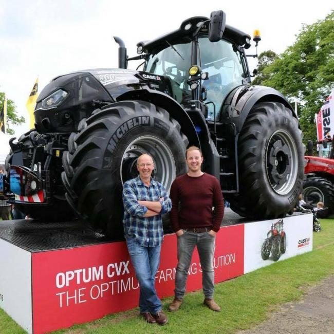 WILLIAM AND Adam Pollock pictured on a Royal Highland Show featuring their special edition Case IH Optum tractor