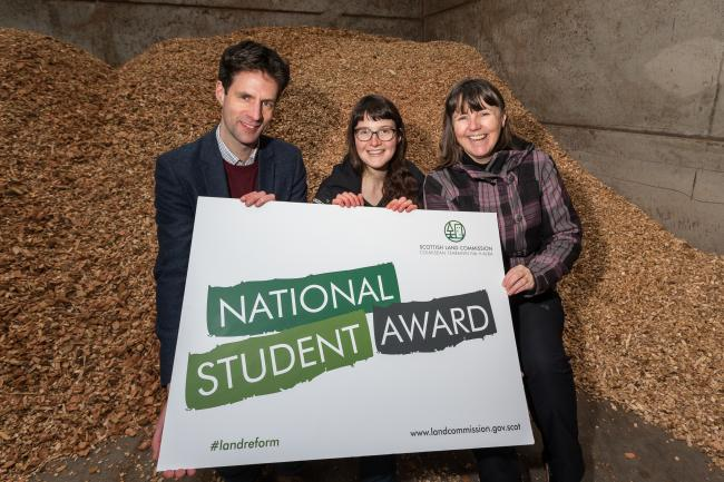 National Student Award winner Heloise Le Moal with Scottish Land Commission chief executive Hamish Trench, and the head of the Scottish School of Forestry, Amanda Bryan.