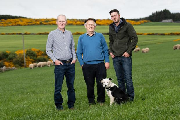 Norman(centre)with his son Raymond (right) and Grandson Ross Ref:RH2105200004  Rob Haining / The Scottish Farmer...
