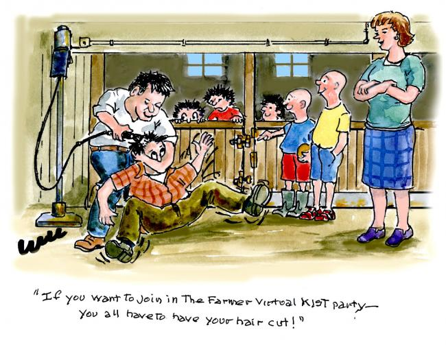 Even if The Scottish Farmer's Kist party is on line only, yer still having to have yer hair cut!'