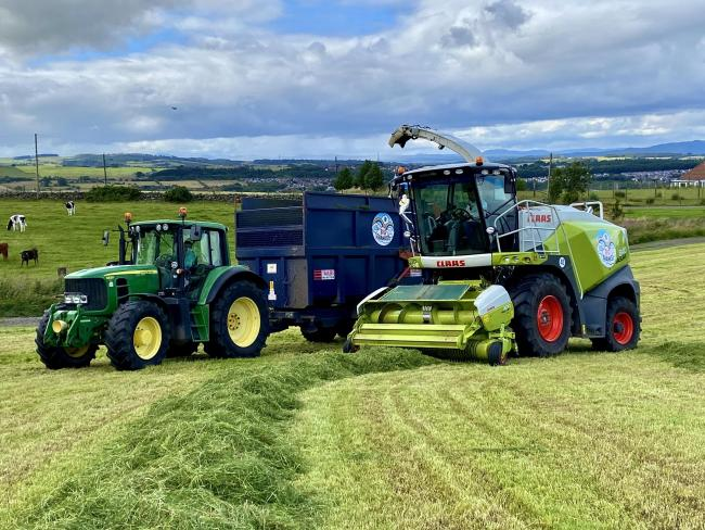 Robert Denholm and Sons of Westerlochdrum Farm, Bonnybridge, took their third cut of silage last weekend, weeks ahead of schedule, having taken a cut a month since May, to feed their 160 Pedigree Holstein cows. Mr Denholm reported that they had enjoyed gr