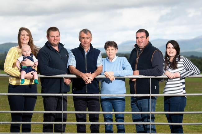 Rattray family from West Park Farm, Jen, Tom (3 months), Michael, David, Jean, Paul and Sarah   Ref:RH180720212  Rob Haining / The Scottish Farmer...