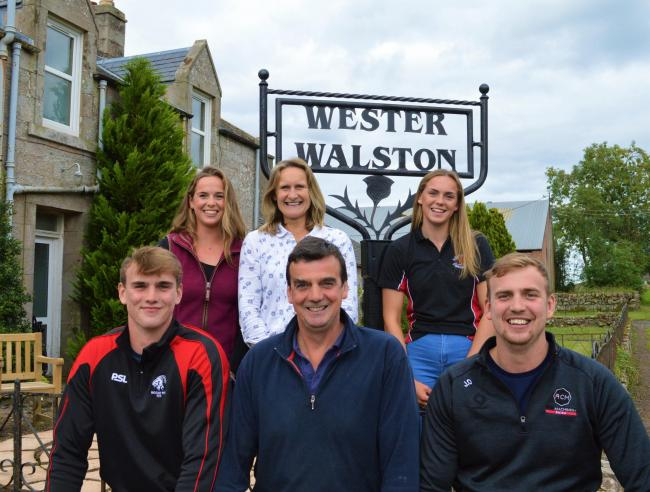 It is very much a family affair at Wester Walston: front row from left to right: Robbie, James and Jamie; Back row: Alison, Mara and Emma