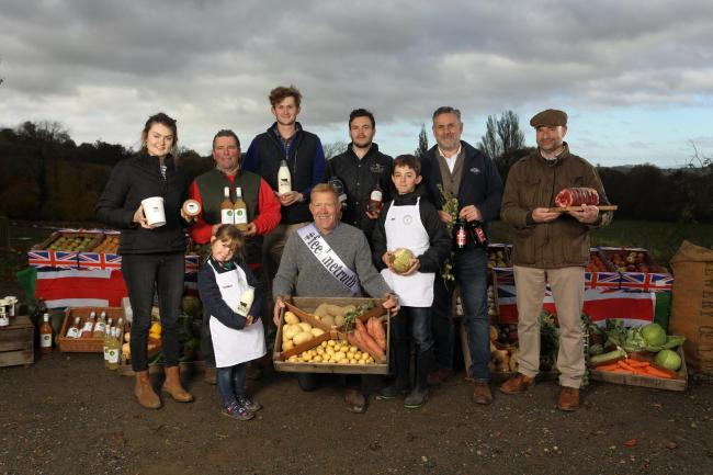 Food and drinks producers with Farmer and TV presenter Adam Henson