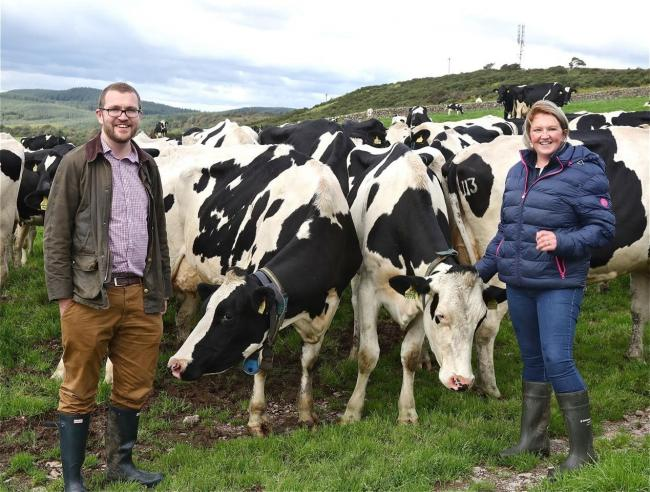 Oliver Mundell MSP issues a message to the dairy industry to respond to the milk contracts consultation. The Conservative rural economy spokesperson is pictured here with Tracey Roan of Boreland of Colvend Farm, Dalbeattie
