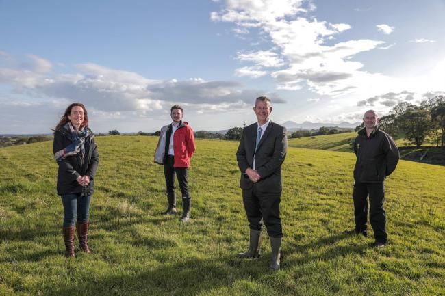 DAERA Minister Edwin Poots with (left-right), Heather McLachlan, National Trust, director for Northern Ireland; Joshua Watts, National Trust general manager of the Belfast Property Group and John Wadsworth, National Trust, assistant gardener, Rowallane.