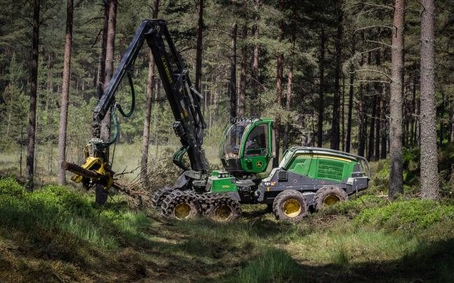 A HARVESTER at work thinning trees on Glendye, owned and operated by Fasque Forestry, which has just won the Rural Business Award category in this year's Making It Happen Awards  (Pic:DW Photography)