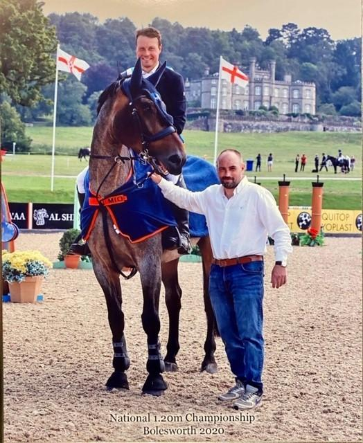 David Harland on JJ's Sure To Fly after winning the 1.2m championship at Bolesworth and with Lloyd Jamieson, grandson of the breeder, holding the horse