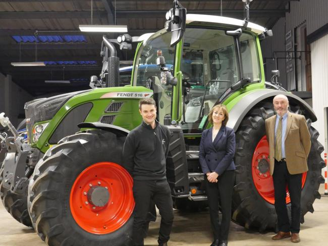Richard Miller from Fendt (left) with Lorna and Howard Johnston