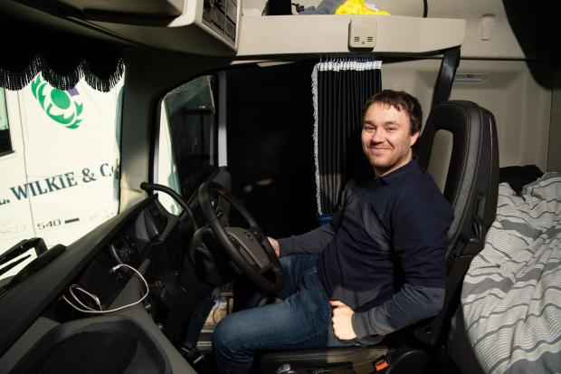 The Scottish Farmer: Driver Ryan likes the the Volvo for being easy to drive and plenty of space inside for extended time away from home Ref:RH281120132 Rob Haining / The Scottish Farmer...