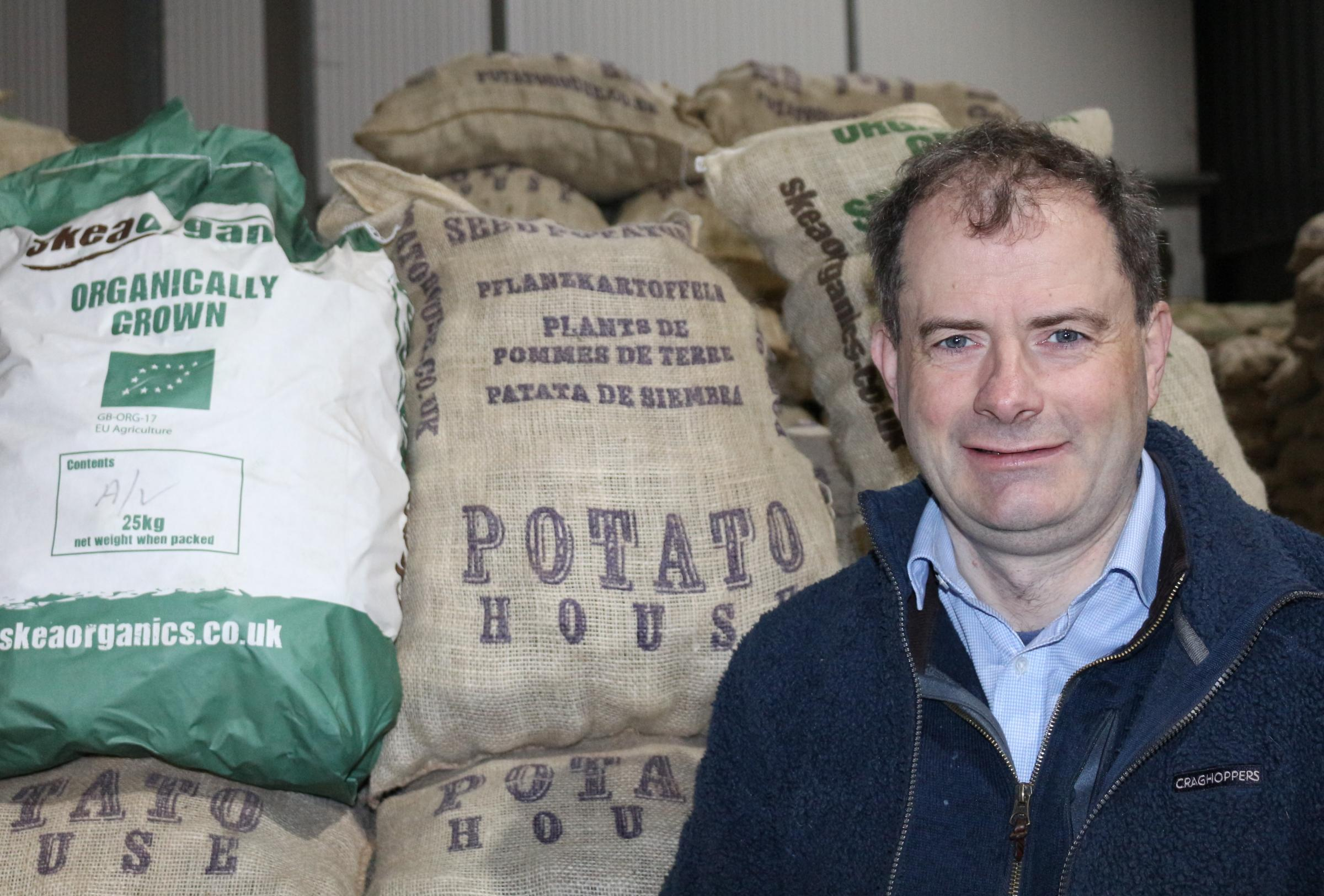 Andrew Skea has seen a lucrative trade in heritage potatoes to overseas buyers drop to zero because of Brexit, but hope the home market will pick up the shortfall for his business, the Potato House