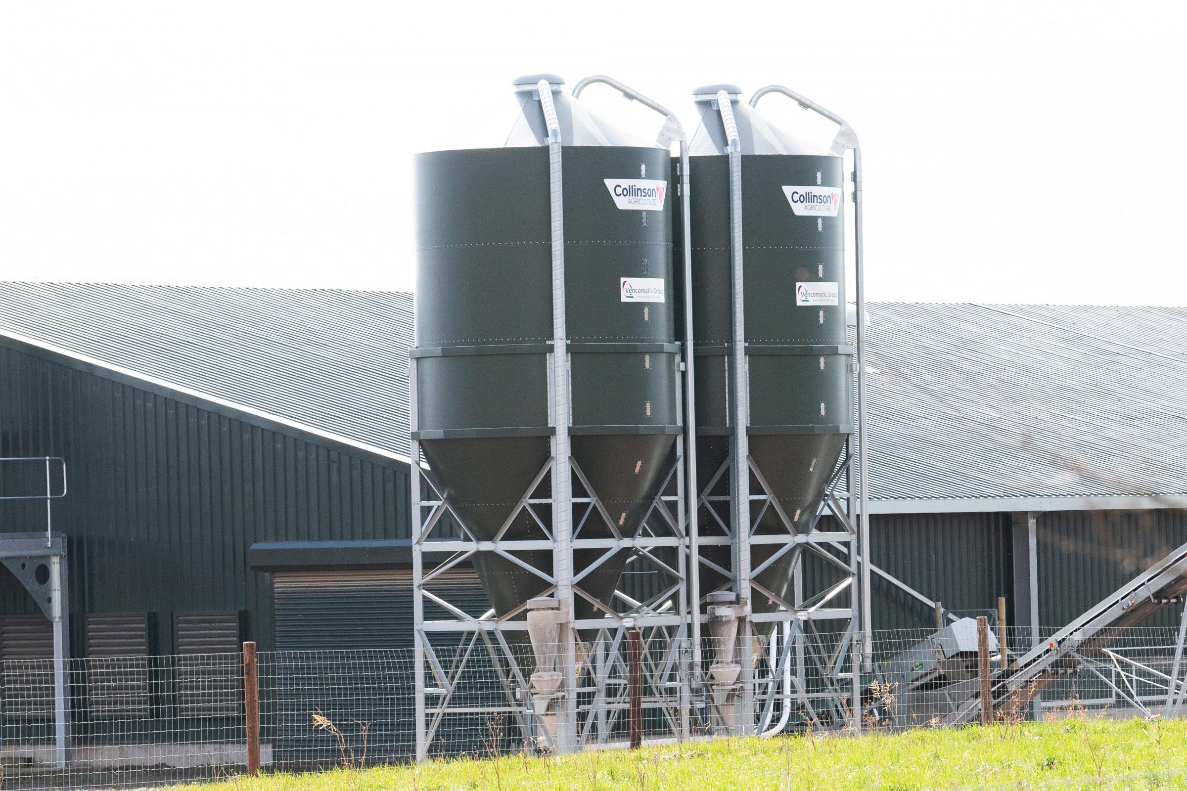 Silos outside the unit to store all the feed to keep the chickens in tip top laying condition Ref:RH210321156 Rob Haining / The Scottish Farmer...