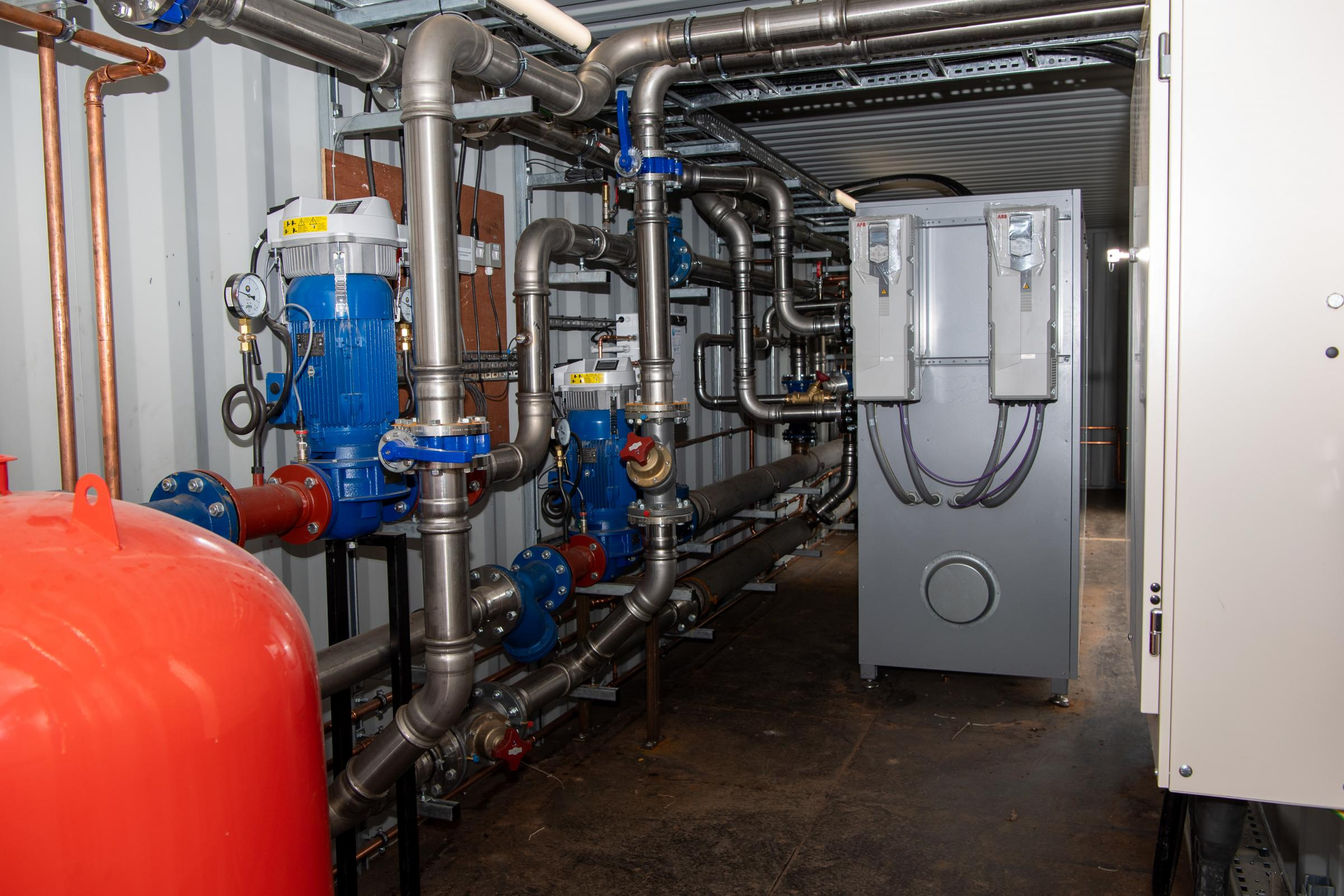 the container that houses the Ground source heat pump system to heat the poultry unit Ref:RH210321145 Rob Haining / The Scottish Farmer...