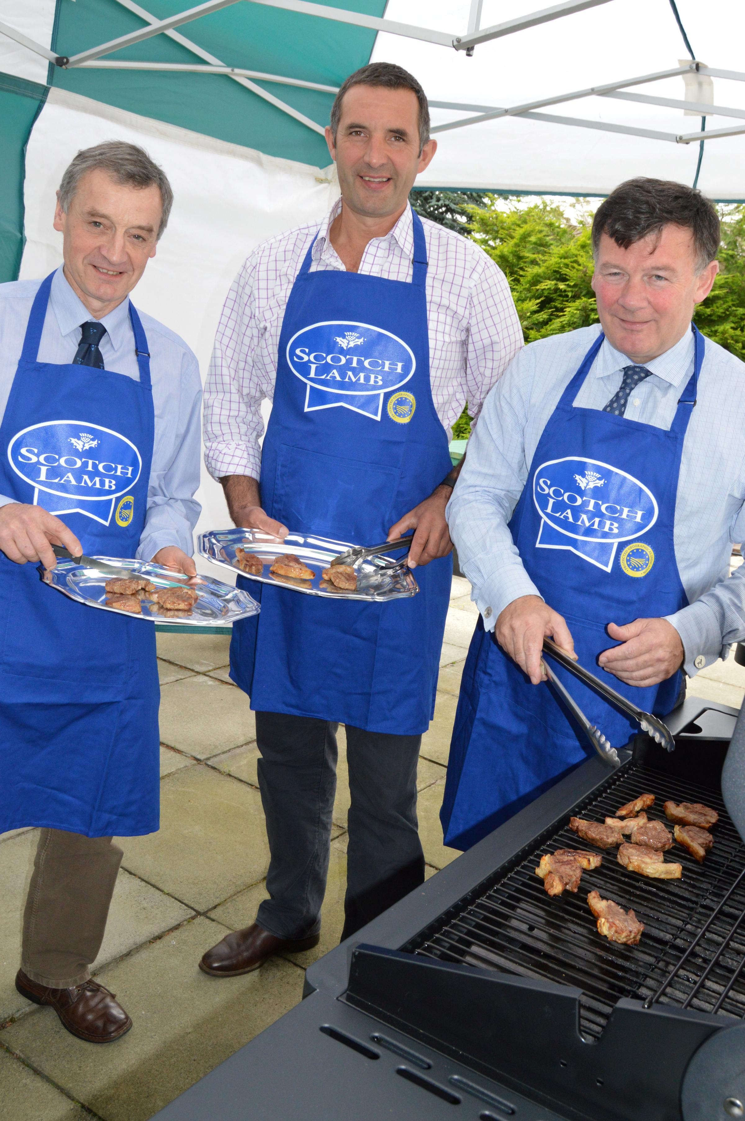 NFU Scotland president Allan Bowie (right) is urging the Scottish public to give tasty Scotch lamb a try this autumn. Also taking on cooking duties here are Ayrshire chairman John Wildman (centre) and Livestock chair Charlie Adam