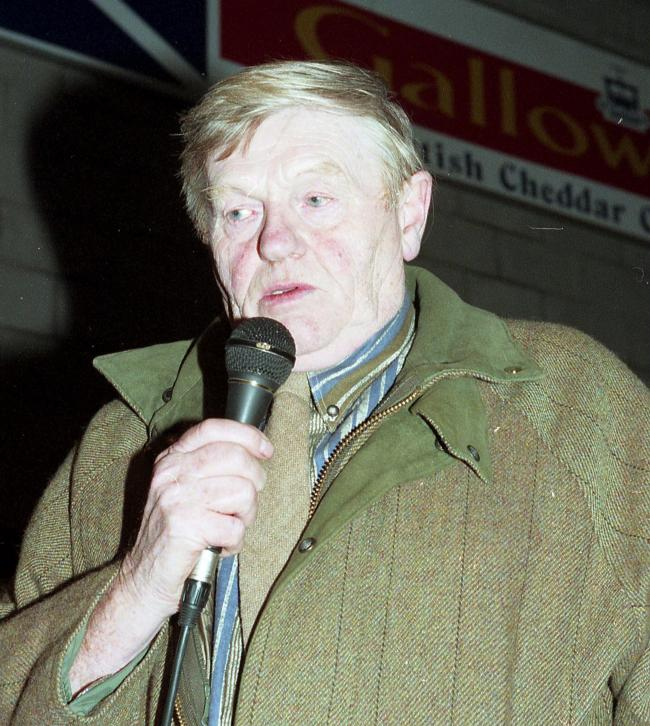 JOHN MCINTOSH addressing farmers at the Stranraerbeef import protest in December, 1997