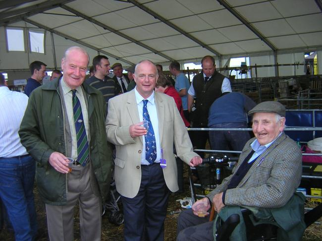 Willie Henderson (left) with The SF editor Alasdair Fletcher and the late Jock Allan at a Beltex party in the sheep lines at the Royal Highland Show a few years ago.