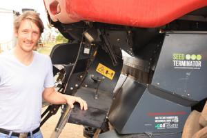 Nick Berry with the Seed Terminator fitted to a Case IH combine harvester