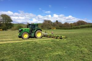 Cutting grass for haylage in Dumfriesshire