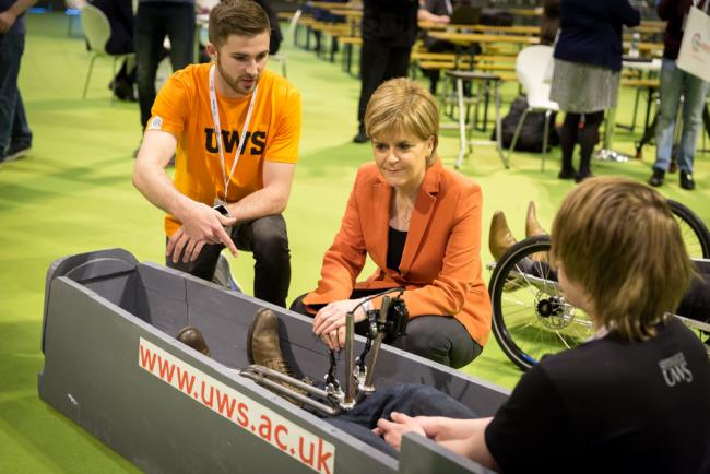 FIRST MINISTER Nicola Sturgeon meeting students from the University of the West of Scotland at  last year's All-Energy conference in Glasgow