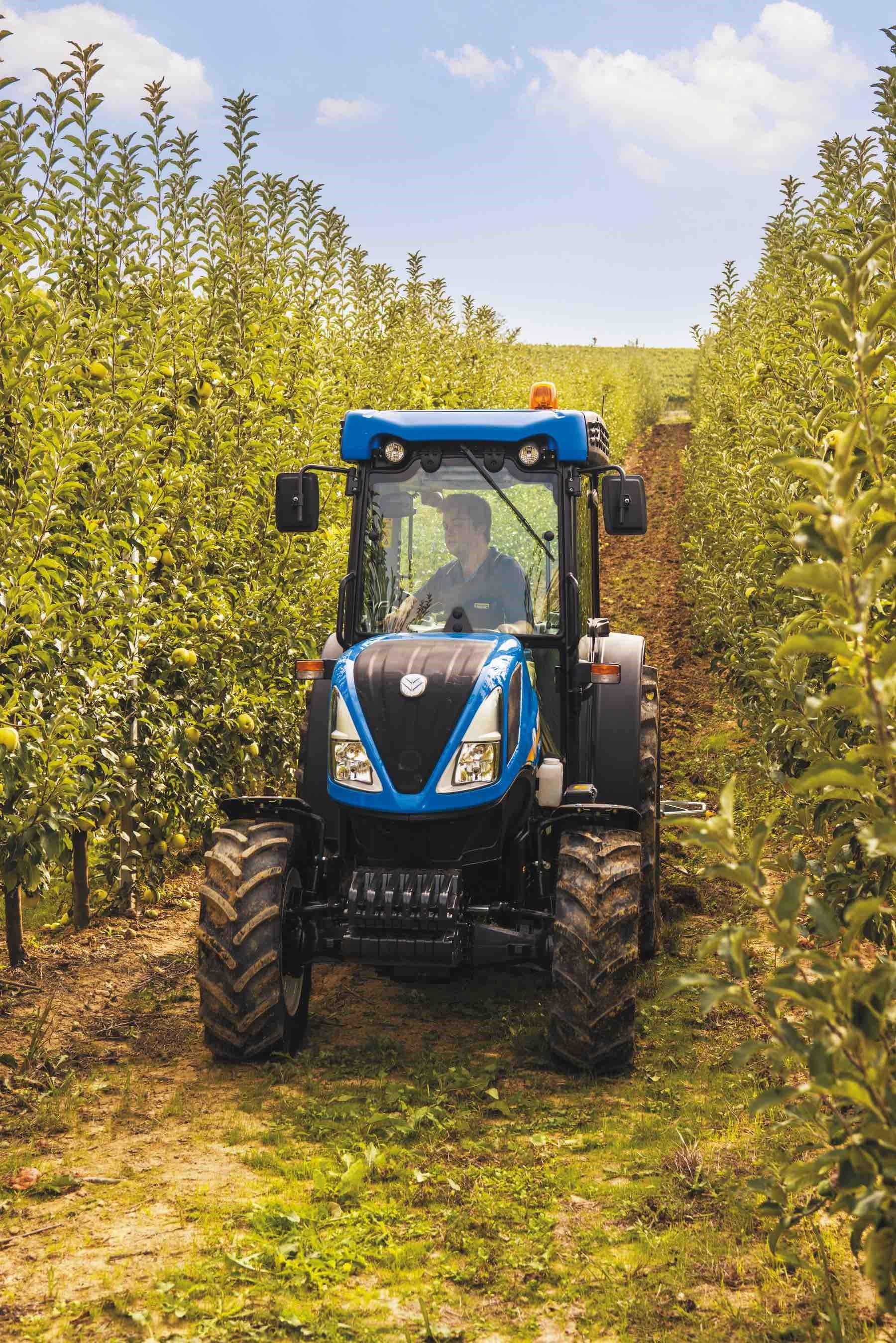 NEW HOLLAND'S latest range of fruit and orchard tractors includes its most powerful variant yet