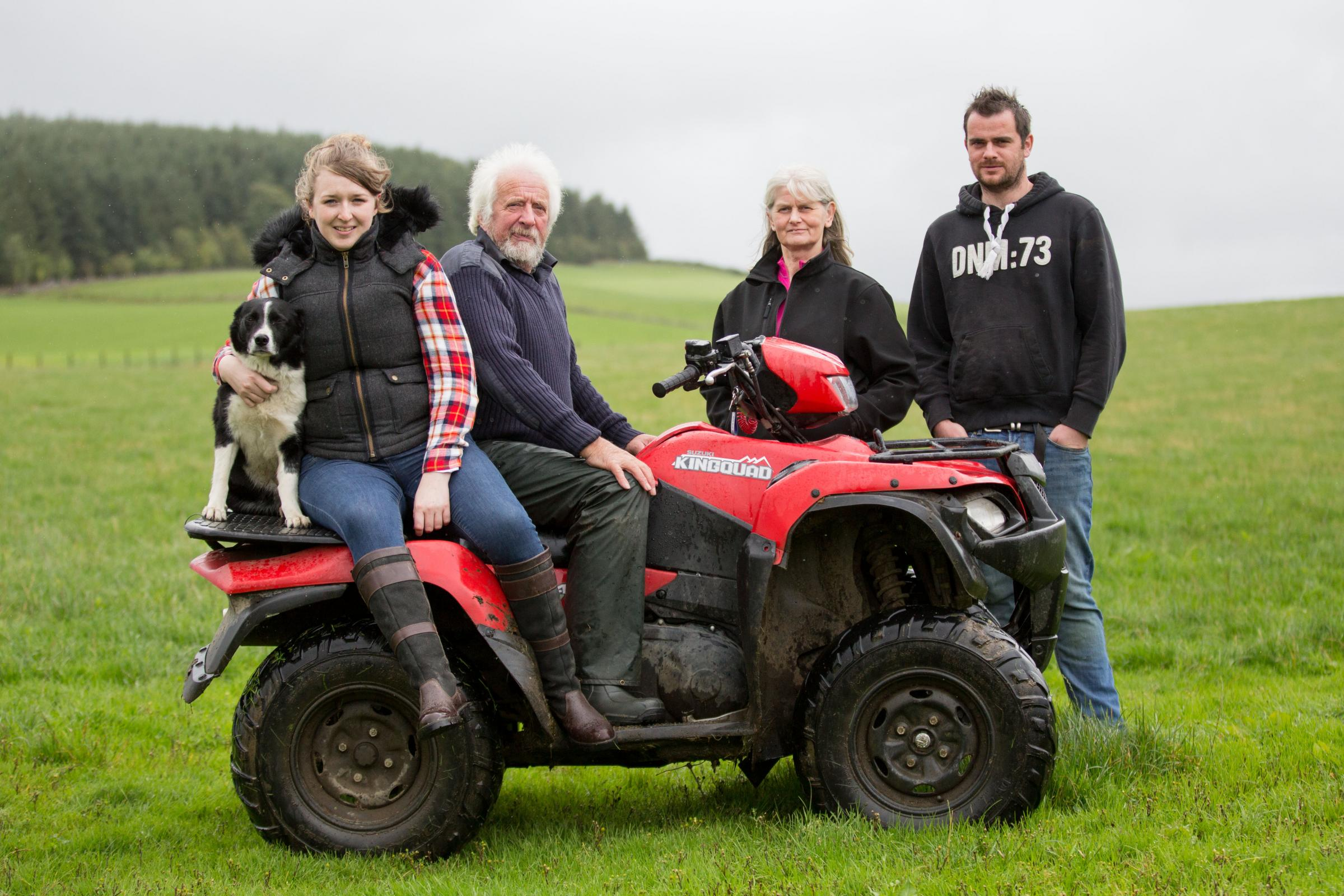 Tombreckachie team from left, Faye the sheepdog, Ally's girlfriend Christine Marshall, Bert, Eleanor and Ally