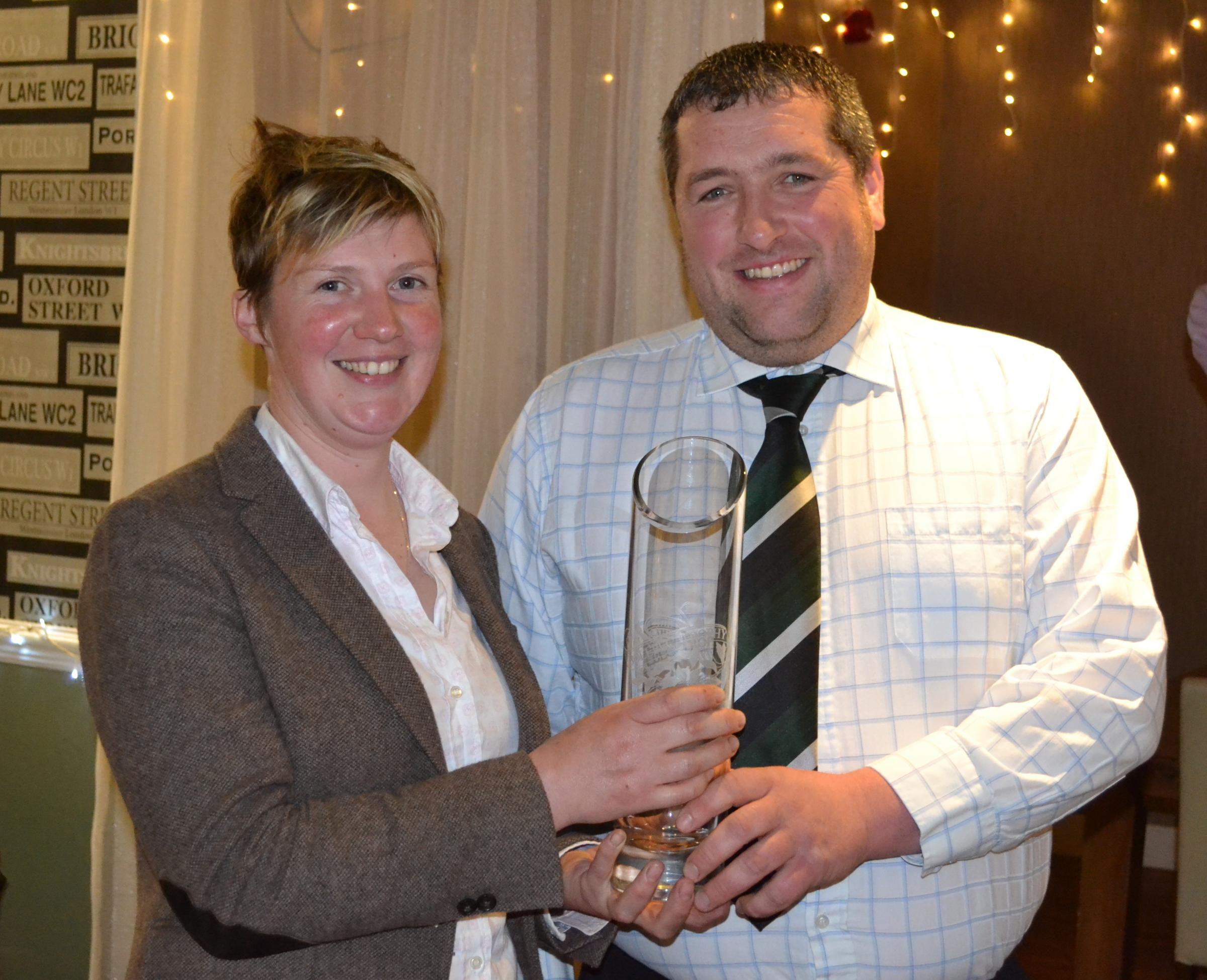 At the annual Belted Galloway Awards, Helen Ryman herd manager of the prestigious Mochrum herd collected two trophies on behalf of David Bertie, Mochrum Estates. Ms Ryman collected the Bolbec Trophy for the animal bred by the exhibitor gaining the most po