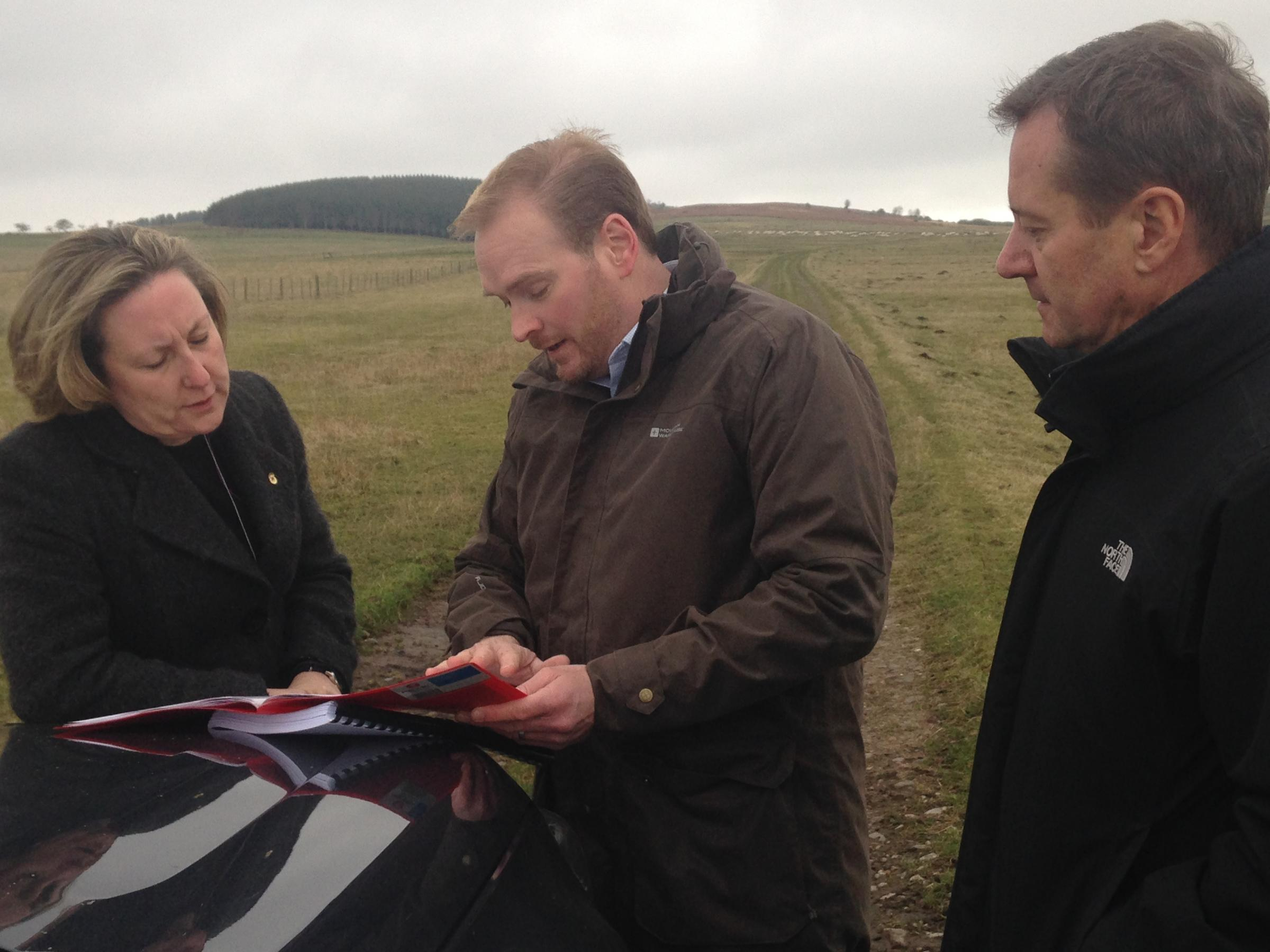 Andy Howard at Doddington site in April this year with Anne-Marie Trevelyan MP and Confor chief executive Stuart Goodall