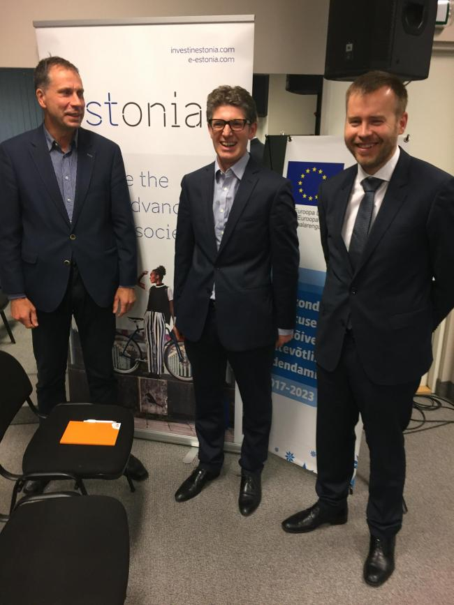 Sulev Alajoe - Invest in Estonia, Adam Baxendine - Savills Energy, Rene Tammist – Conference Chair and CEO of the Estonian Renewable Energy Association